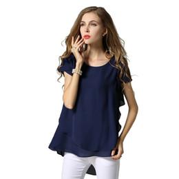 Wholesale Navy Chiffon Blouse Women - M L XL XXL 3XL 4XL 5XL Plus Size chiffon blouse 2017 Summer O Neck short sleeve casual shirts Yellow Navy White Black women tops