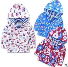 Wholesale 12 Month Girl Coat - Girls Butterfly Jacket Coat Outerwear Spring Fall Kids Tops Butterflies Hooded Jackets Coats Kids Clothes Boutique Kids Clothing 2-7Y