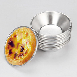 Wholesale Set Cheap Cups - Wholesale- 10 pcs lot anodize aluminum egg tart maker mold,cheap egg tart cup metal baking mold,wholesale mini dessert cake mould