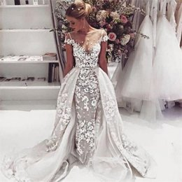 Wholesale Modest Sheath Wedding Dresses - Modest Overskirts Wedding Dresses Sheer Neckline Cap Sleeves Lace Appliques Wedding Gowns Sheath A Line Train Sexy Backless Bridal Dresss