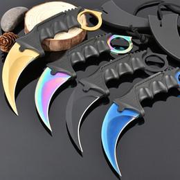 Wholesale Karambit Training Knives - Best Karambit Claw Knife Folding Training Hunting Knife Outdoor Survival Knife Xmas Gift for Man 1pcs