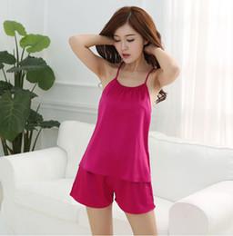 Wholesale Harness Wholesale Prices - Wholesale- Low Price 2017 summer style pajamas sets Women Female pyjama set Women's Deep Sexy Solid Vest harness Sleepwear Silk Nightwear