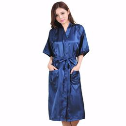 Wholesale Sexy Navy Lingerie - Wholesale- Plus Size XXXL Navy Blue Rayon Bathrobe Women's Kimono Long Robe Sexy Lingerie Classic Nightgown Sleepwear with Belt NB021