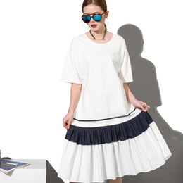 Wholesale Big Polka Dot Women Dress - Wholesale- [soonyour] 2017 Fashion New simple Black White stitching loose BIG dress female organ pleated hem wholesale Woman W0070