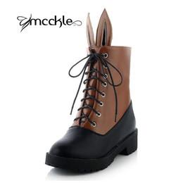 Wholesale Plus Size Women Red Boots - Wholesale-2015 Spring Autumn shoelace botte femme boots waterproof ladies boots shoes for women plus size black bunny ears shoes J4241