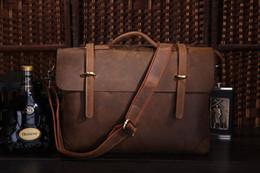 Wholesale Genuine Leather Document Bags - Wholesale- Crazy Horse leather Mens Briefcase Laptop Bag Portfolio Business Bag Document Bag 7082R