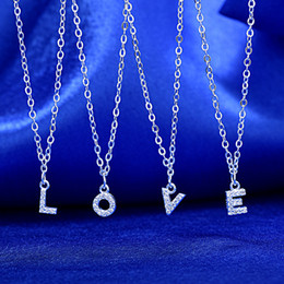 Wholesale Initial Silver Letters - Letter Necklaces Women Silver Plated 26 English Letter Necklace Initials Letter Crystal Necklaces Fashion Pendant Necklces