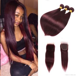 Wholesale Burgundy Red Hair Color Extension - Brazilian Human Virgin Hair Bundles With Closure Burgundy Straight Wine Red 99j Silk Straight Hair Wefe With Lace Closure Weave Extension
