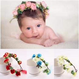Wholesale Handmade Crown Baby - Handmade Baby Kids Lily Flower Crown Headband Bridal Hair Accessories Prom Flower Garland for Kids health flower wreath