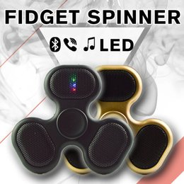 Wholesale Kid Mp3 Speakers - Bluetooth Speakerphone Rechargeable Bluetooth Fidget Spinner LED MP3 Audio Player Fidget Portable Speaker Spinner with 300mah Battery LEDB07