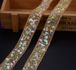 Wholesale diamond bridal belts - Free ship,iron on rhinestone tape,1meter lot,fancy trim hotfix gemstone bridal dress belt banding,cake decorative cupchain