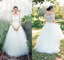 Wholesale T Length Wedding Dress Cheap - Simple Elegant White A Line Tulle Beach Wedding Dresses 2017 Off-The-Shoulder Short Sleeve Lace Bridal Gowns Cheap Vintage Wedding Gowns