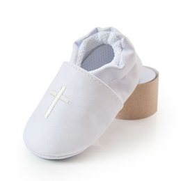 Wholesale Girls Baptism Shoes - Wholesale- Baby Boy Girl Cross Baptism Christening Shoes Church Soft Sole Leather Shoes White