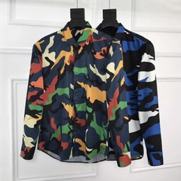 Wholesale Printed Flannel - New Men's Shirts Arrival British Style Casual Long Sleeve Solid Male Slim Fit Shirt Graffiti camouflage print Men Clothes