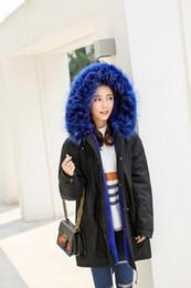 Wholesale Thick Wool Coat Girls - Large Size Women Girls Winter Parkas Faux Fur Coat Winter Jacket Hooded Red Blue Fur Warm Outwear Cashmere Overcoat Fashion Tops