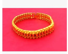 Wholesale Men 18k Solid Gold Bracelet - HEAVY! 45g MEN 18K YELLOW GOLD REAL ID BRACELET SOLID WATCH CHAIN LINK 9inch FREE SHIPPING GIFT Containing about 30% or more of an alloy