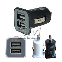 Wholesale High Voltage Adapter - High Quality 2-Port Mini Universal Dual USB Car Charger Adapter Bullet 5V 2.1A + 1A Black White DHL