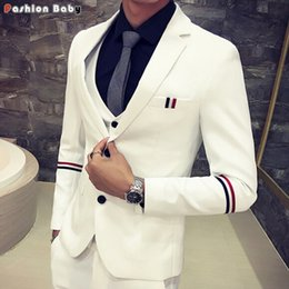 Wholesale Black White Stripe Blazer - Wholesale- Men's Slim Fit Dress Casual Blazer White Black 2016 Fashion Stripe Party Wedding Tuxedo Suit Jacket Autumn Winter