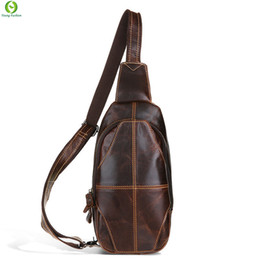 Wholesale Travel Sling Leather - Wholesale- Vintage 100% Genuine Leather men bags Travel fashion Messenger Shoulder bags Cross Body Sling Chest Pack Casual Bag