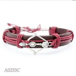 Wholesale Leather Bow Cuff Wholesale - Customizable Antique Silver Bow And Arrow Charm Adjustable Leather Cuff Bracelet for Men & Women Punk Friendship Jewelry