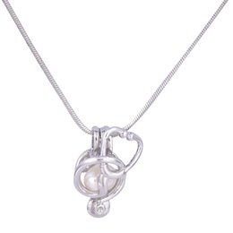 Wholesale Silver Bead Cages - 18KGP Pearl Cage Pendants Stethoscope Shape Pearl Gem Beads Cage Oyster Lockets Pendants, DIY Necklace Jelwery