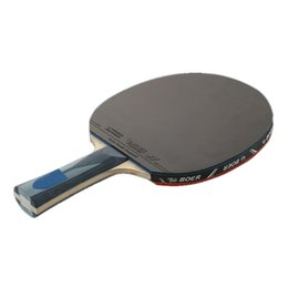 Wholesale Carbon Table Tennis - Durable 1pcs Table Tennis Racket Ping Pong Paddle Long   Short Handle Professional Carbon Table Tennis Racket With 3 Balls 2526002