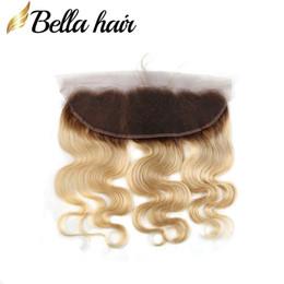 "Wholesale Brazilian Blond Weave - Brazilian Virgin Human Hair Extensions Weaves Closure Blond Lace Frontal (13x4"") 1b #613 Color Ear to Ear Closures In Bulk BodywaveBellahair"