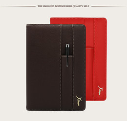 Wholesale Mini Binders - Wholesale- Italy Logo Custom Leather Cover A5 Notebook A6 Mini Business Notebook Office Planner Binder Red Diary Book