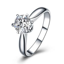 Wholesale 18k Rgp - Real Pure White Gold Ring 18K RGP Stamp Rings Set 2 Ct CZ Diamond Wedding Rings For Women RING
