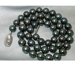 Wholesale Natural Round Tahitian Pearl - Classic AAA natural 9-10mm round tahitian black green pearl necklace 18inch 925 silver clasp