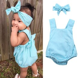 Wholesale Kids Costume Rompers - 2pcs Newborn Infant Baby Girl Kids Rompers Clothes buckle Romper+Headband Set Bodysuit Outfits Summer Cotton Costume Toddlers dress