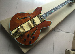Wholesale Electric Guitar Hollow Body Gold - high quality Electric guitar, Jazz Guitar,Semi Hollow Body Archtop Guitar , Spalted+Flame Maple Top,Gold Hardware