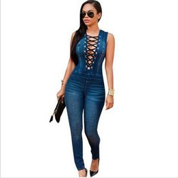 Wholesale Eyelet Lace - Women Eyelet Button Hole Denim Jumpsuit Lace Up Sleeveless Back Zipper Long Jeans Playsuit Plus Size Bodycon Overalls