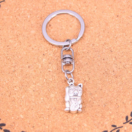 Wholesale Vintage Lucky Cats - New Fashion lucky cat Keychains Vintage Antique Silver plated Keyholder fashion Solid Pendant Keyring gift