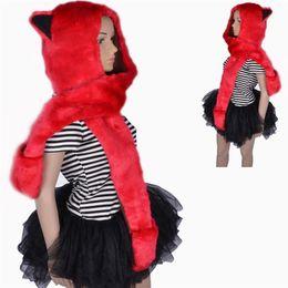 Wholesale Anime Mittens - 2017 New Halloween Plush Soft Ladies Kids Teens Wild Animal Hat with Hood Scarf Long Mittens Pocket