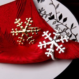 Wholesale Golden Napkins - Wholesale- Creative Snowflake Butterfly Style Napkin Rings Hotel Restaurant Wedding Table Decoration Napkin Rings Golden Silver Napkin Ring