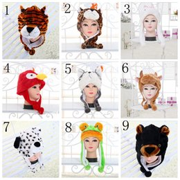 Wholesale Womens Ear Muffs - Animals Plush Black Wolf Cute Plush Animal Hat For Kids Boys Girls Teenagers Adults Mens Womens Winter Beanie Cap YYA465