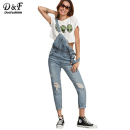 Wholesale Cute Ripped Jeans - Wholesale- Dotfashion Ripped Stone Wash Denim Overall Jeans Women Cute Wear Vintage Sleeveless with Pockets Jumpsuits