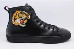 Wholesale Tiger Embroidery Fabric - 2017 FALL mens Animal Prints black Genuine COW leather Tiger embroidery high top fashion sneakers