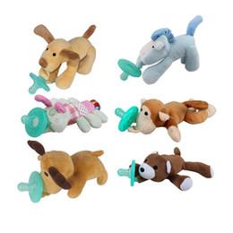 Wholesale Toy For Nipples - Wholesale-Lovely Cartoon Cute Infant Baby Silicone Pacifier With Plush Animal Baby Nipple Toy For 3-12 Months #10