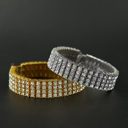 Wholesale Titanium Rings Singapore - Hip hop 4 Four Row Pharaoh Bracelet Rhinestones Bangle Bling Imitation diamond Chains Link Wristbands Men Women Gift Jewelry