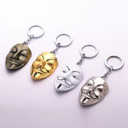 Wholesale Vendetta Gold - Moive V for Vendetta Metal Keyring Rhodium Plated Split Key Rings Findings Keychains Key Chains Gift