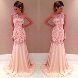 Wholesale Empire Waist One Shoulder Dress - 2017 One Shoulder Pearl Pink Prom Dresses Lace Appliques Sheer Neck Party Dress Empire Waist Mermaid Long Formal Evening Gowns BO7801