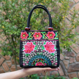 Wholesale Cheap Tote Bags For Women - Women's Fashion Handbag Totes National Style Flowers Canvas Embroidery Good Quality Gift For Girls Cheap Wholesale