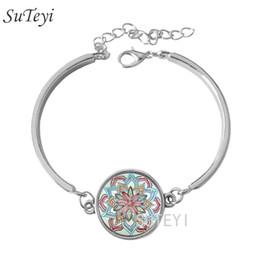Wholesale Wholesale Zen Bracelets - Fashion Gem dome glass rhinestone bracelet jewelry mandala flower bracelet henna yaga bracelet om symbol buddhism zen