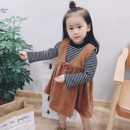 Wholesale Girls Brown Striped Dress - Kids Winter outfits Girls Cotton stripe long sleeve T-shirts+ V-neck Ribs Pleated dress 2pcs princess sets Children fashion Clothing C1583