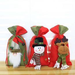 Wholesale Deer Ornament - Christmas Candy Bag Santa Claus Gift Bag Kids Deer Snowman Kids Bag Xmas Decoration 3 Styles OOA3126