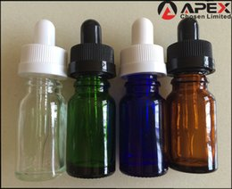 Wholesale Dropper Bottle Green Caps - 10ml Glass Europe Round Glossy Clear, Blue, Amber, Green E-Liquid Bottle; Child Proof Resistant Cap; Slender Dropper Pipette