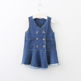 Wholesale Double Breast Girl Dress - Everweekend Girls Tassel Double-Breasted Denim Dress Sweet Baby Ruffles Pocket Clothes Princess Summer Holiday Clothing