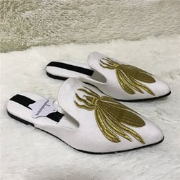 Wholesale Velvet Slippers Women Blue - Spider Embroidery Women White Slippers Gladiator Sandals Summer Casual Flat Shoes Woman Velvet Slides Flats Beach Shoes Loafers